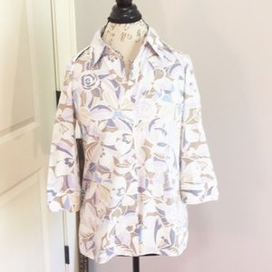 Floral Print Top Button Front By Sigrid Olsen